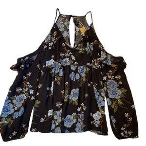 American Eagle Black Floral Cold Shoulder Top NWT